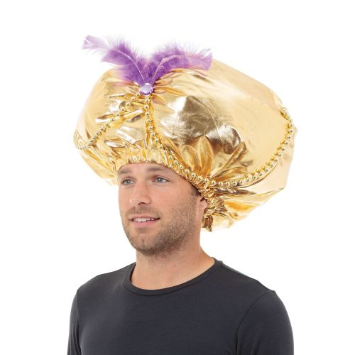 Jumbo Aladdin Hat Gold Prince Fairytale Superhero Fancy Dress Accessory